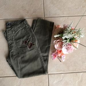 Army Embroidered Boyfriend Jeans